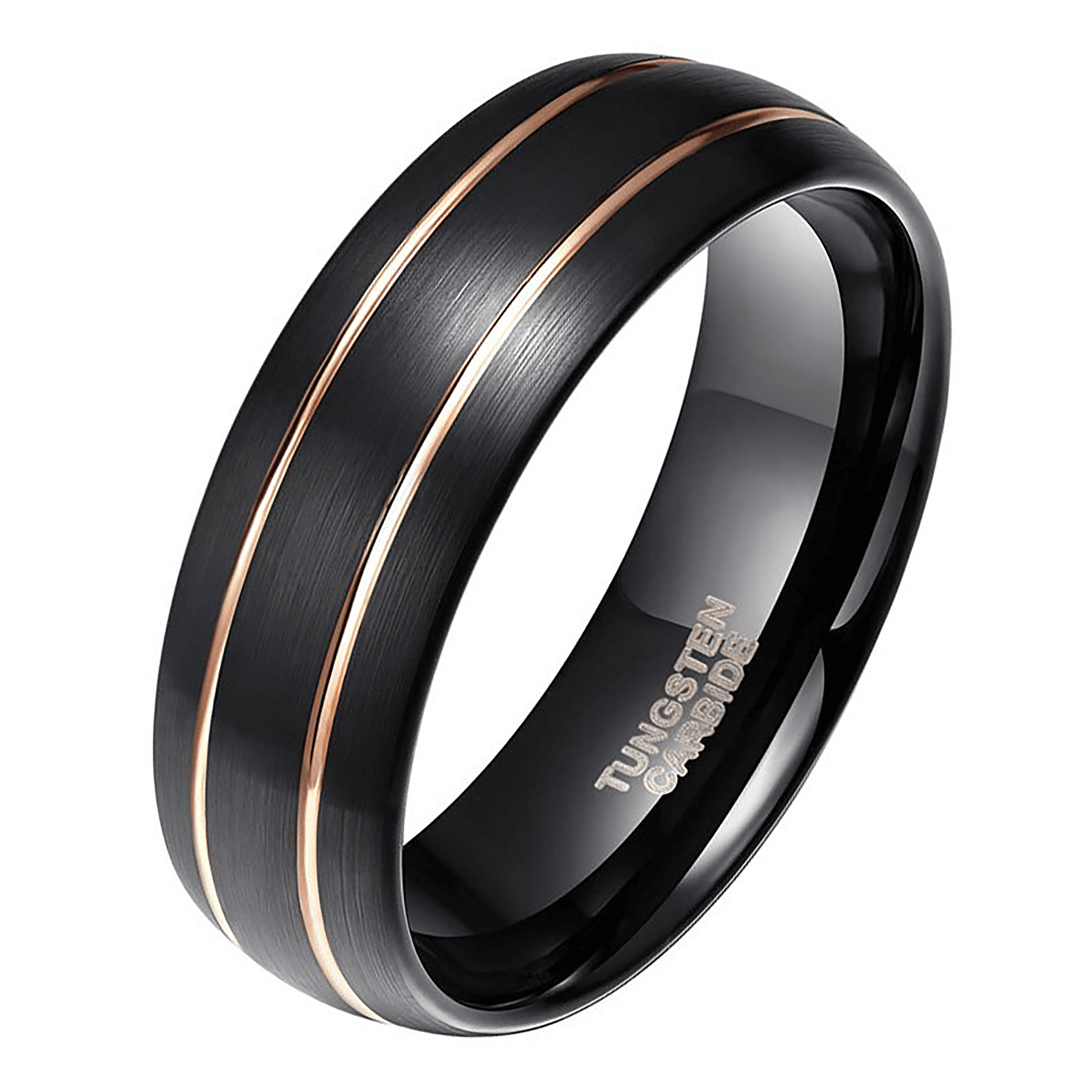 Black Ring for Men - Double Groove of Gold
