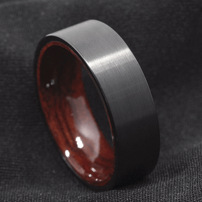 Men's Tungsten Ring - Brushed Black with Natural Wood Interior