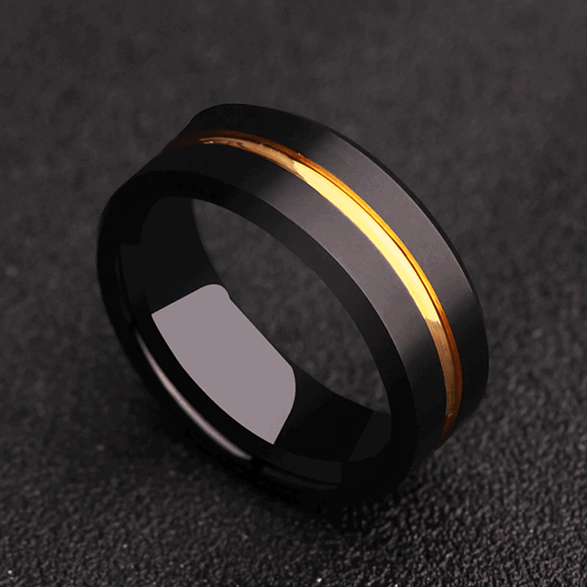 Men's Tungsten Ring - Matte Black with Groove of Gold
