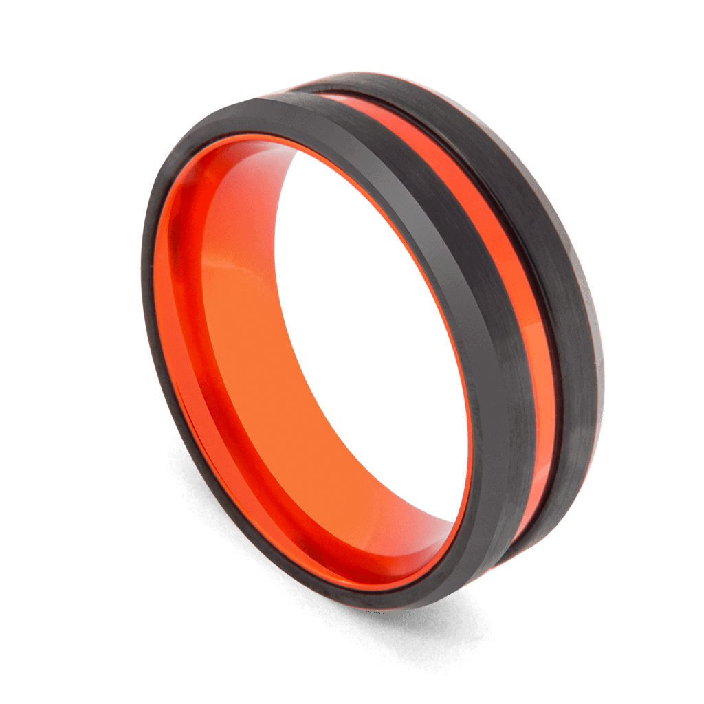 Aptitude - Ring for Men - Black Tungsten with Vivid Groove of Orange