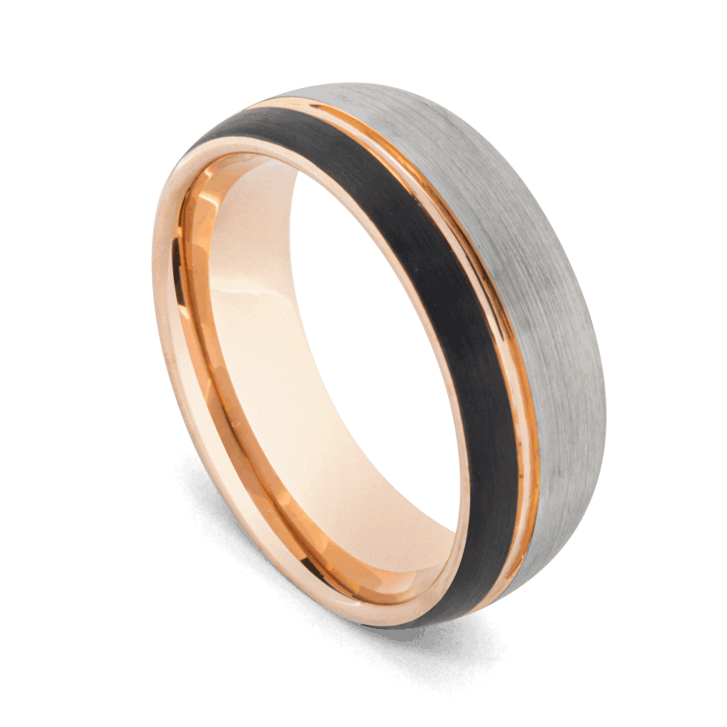 Erudite Ring - Men's Tungsten Ring with Brushed Silver, Polished Rose Gold and Matte Black