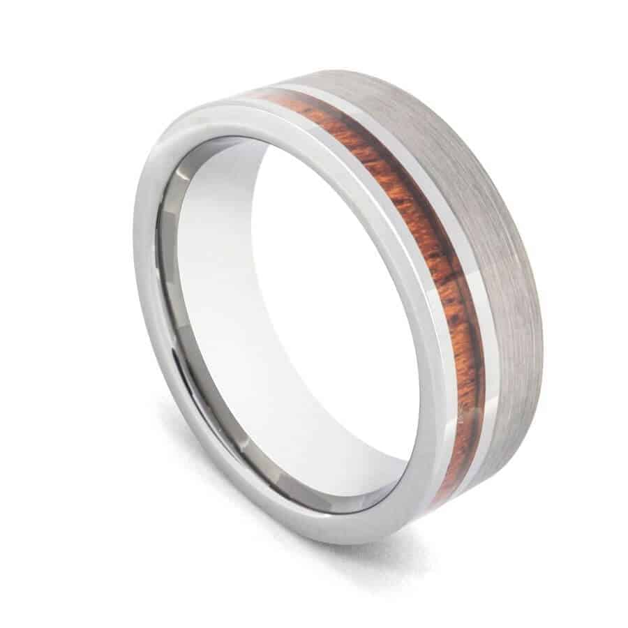 Silver Tungsten with Groove of Natural Wood