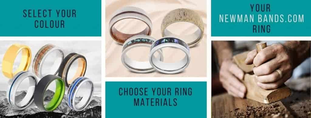 Collage displaying fashion, statement and wedding rings for men