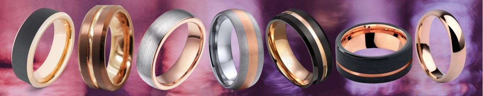 Collection of rose gold men's rings
