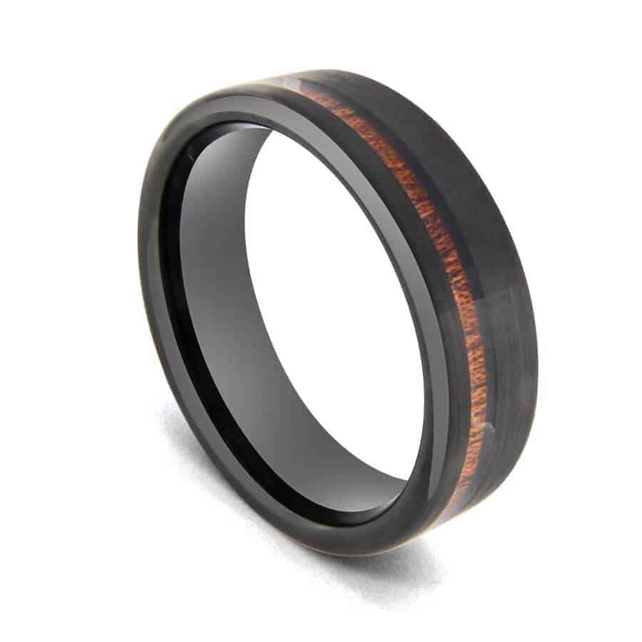 Black Tungsten Ring with Groove of Natural Wood