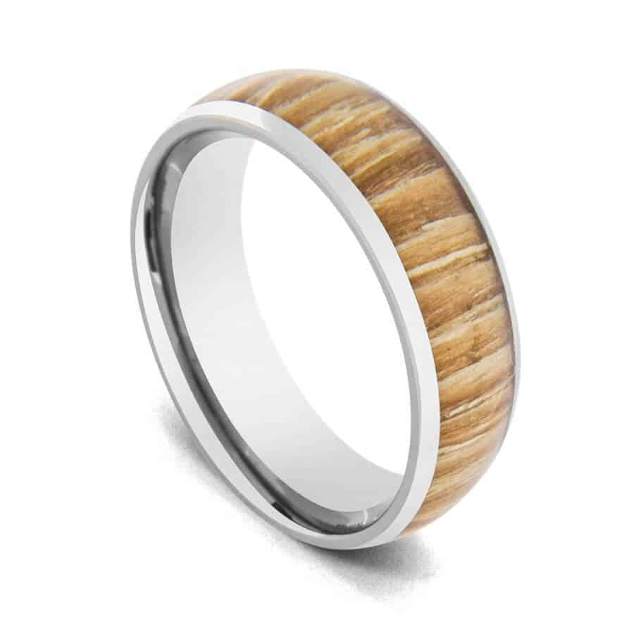 Close up picture of natural wood ring for men