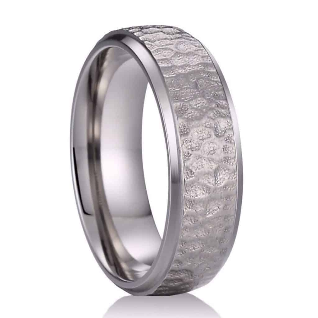 A titanium ring for men with a hammered finish