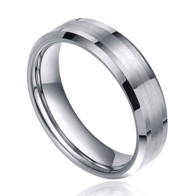 Picture of silver tungsten ring for men