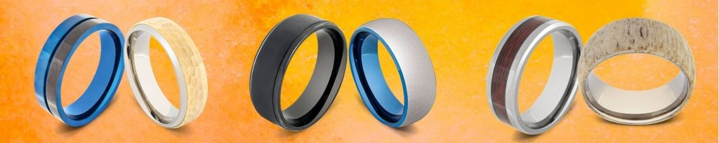 Selection of Titanium Rings against an Orange Background