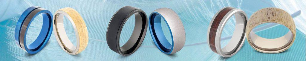 Display of 6 titanium rings