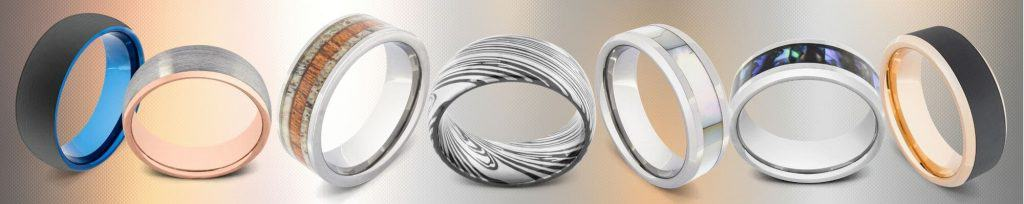 Display of 7 tungsten carbide rings for men