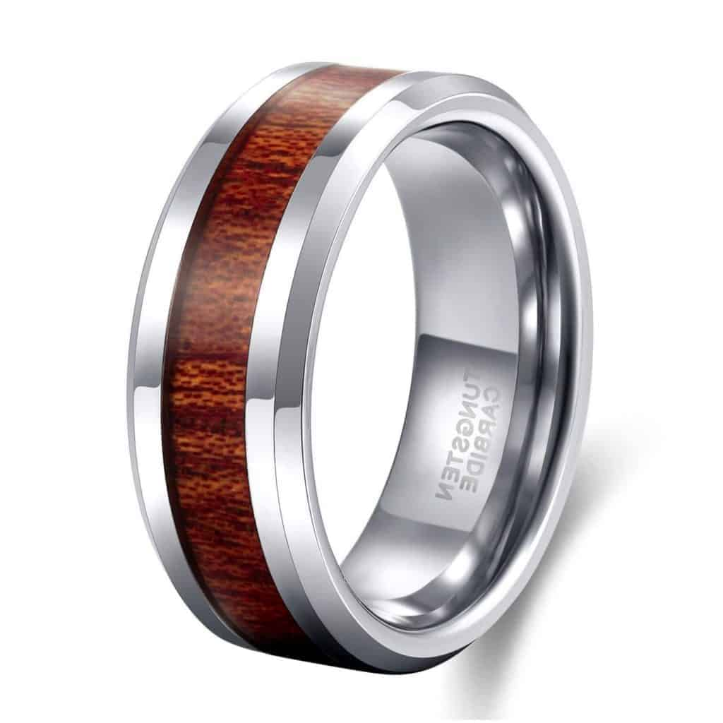 Silver Tungsten Ring with Inlay of Natural Wood