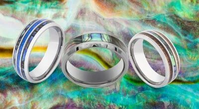 Selection of men's rings featuring abalone shell