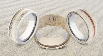 Collection of men's rings featuring naturally shed antler bone