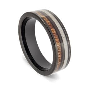 Black Tungsten Ring with Inlay of Antler and Natural Wood