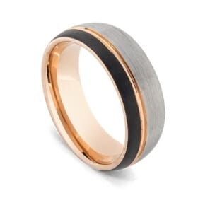 Brushed Silver, Black, and Polished Gold Ring for Men