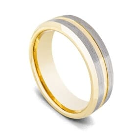 Brushed Silver and Polished Gold Ring for Men