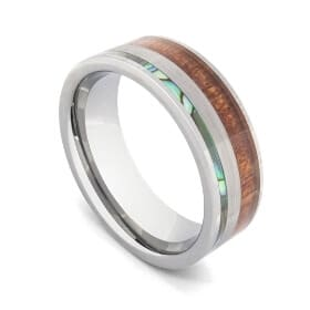 Tungsten Ring for Men featuring Natural Wood, Abalone Shell, and Brushed Silver