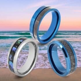 3 Blue Rings for Men against Ocean Background