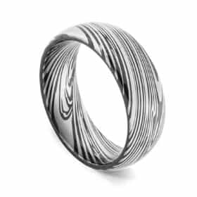 Waterfall Ring - Damascus Steel Pattern Ring for Men