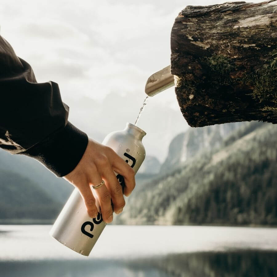 Filling up the water bottle