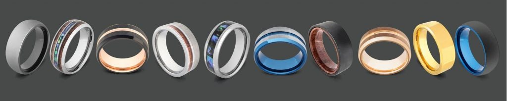 Collection of Men's Rings made with Tungsten Carbide
