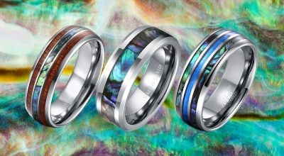 Collection of Shell Rings for Men - Abalone Shell and Mother-of-Pearl