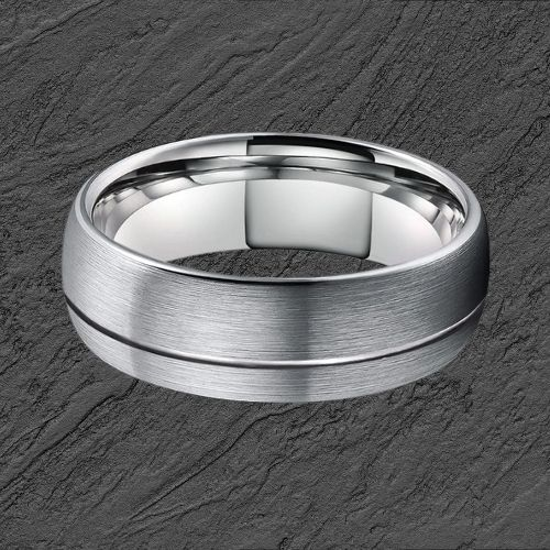 Brushed Silver Tungsten Ring for Men