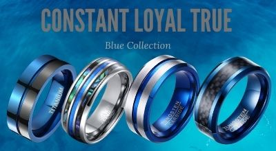 Blue Titanium Mens Rings and Tungsten