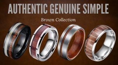 Mens tungsten rings - brown