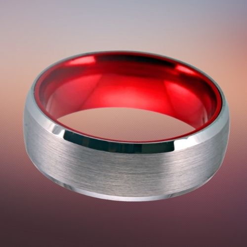 Tungsten Ring for Men - Silver and Red