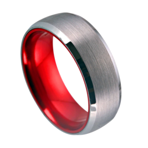 Silver and Red Tungsten Ring for Men