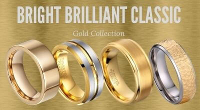 Gold mens tungsten rings and titanium