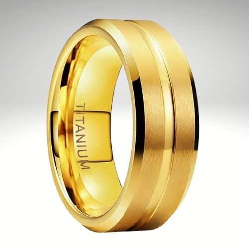 Mens Gold Titanium Ring