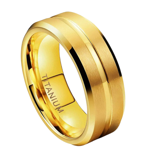 Gold Titanium Ring for Men - Polished Gold with Sections of Brushed Gold
