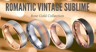 Rose Gold Mens Tungsten Rings with Titanium