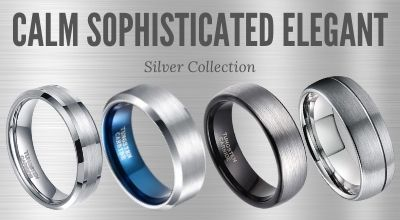 Silver Mens Tungsten and Titanium Rings