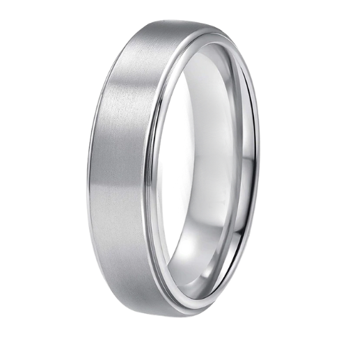 Silver Titanium Ring for Men - 6 mm