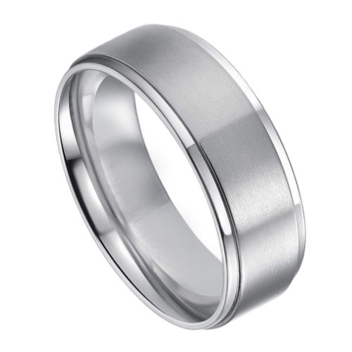 Mens Silver Titanium Ring 8 mm