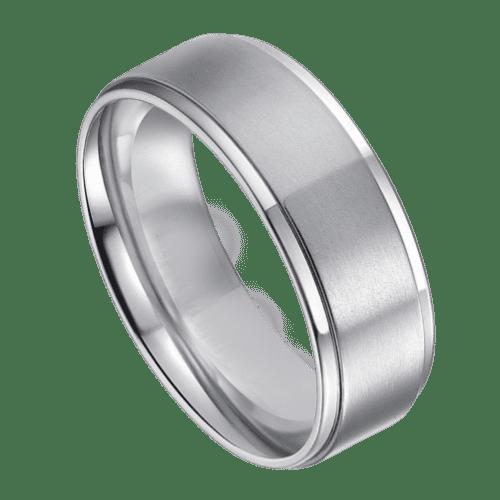 Mens Silver Titanium Ring 8 mm