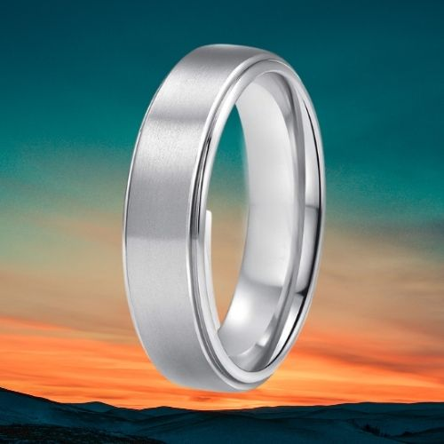 Silver Titanium Ring for Men against Sunset Background