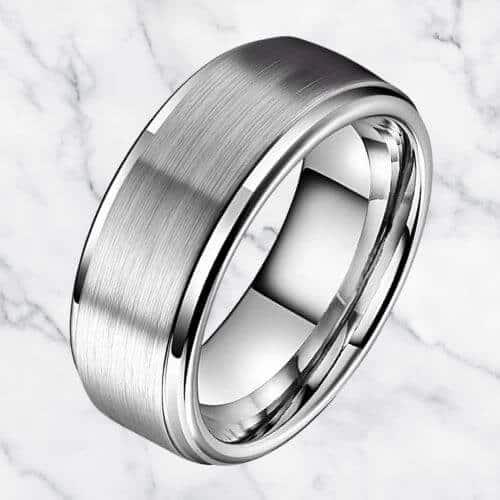 Silver Tungsten Ring for Men - 8 mm
