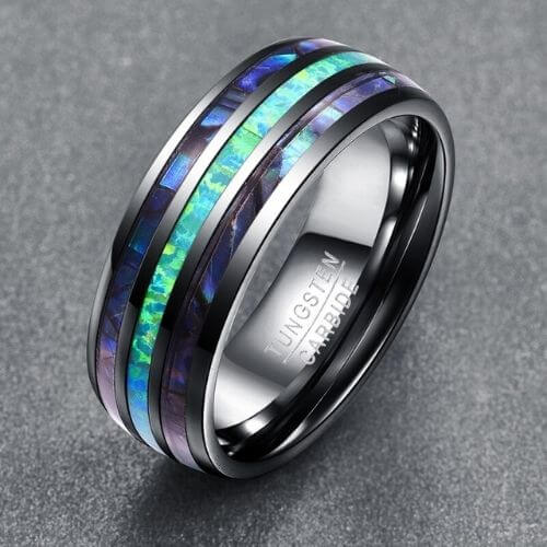 Men's Abalone Shell and Opal Ring set in Silver Tungsten