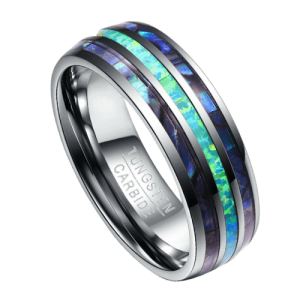 Men's Tungsten Ring - Silver, Abalone Shell and Opal