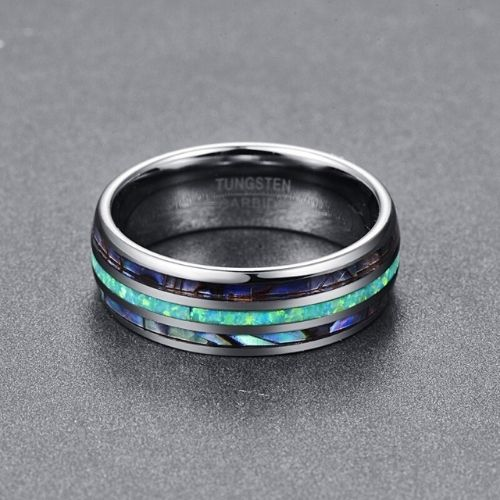 Men's Tungsten Ring with Abalone Shell and Opal