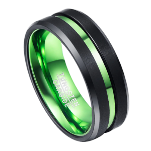 Black and Green Tungsten Ring for Men