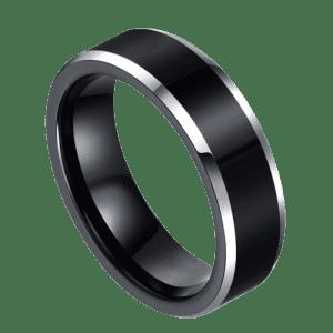 Black and Silver Men's Titanium Ring