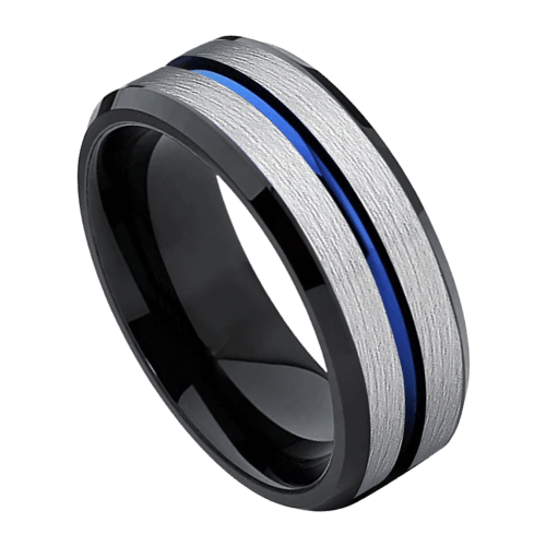 Men's Silver, Blue, and Black Tungsten Ring