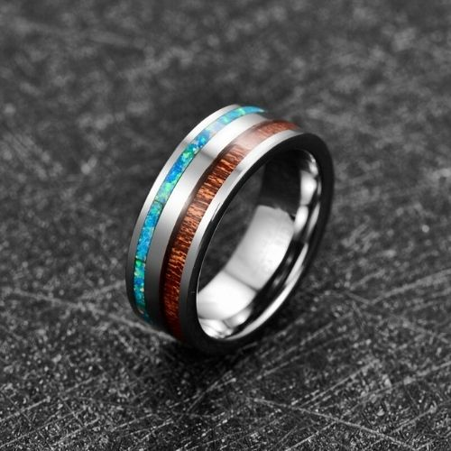 Unique Ring for Men - Tungsten with Wood and Opal
