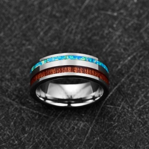 Men's Wood and Opal Ring set in Silver Tungsten